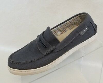 9dfa1a31209 Cole Haan Penny Loafers Grand OS Pinch Maine Classic Gray Canvas Mens Shoes  7M
