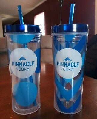 Set Of (2) Pinnacle Vodka 16oz. Insulated Tumbler Cups With Straws