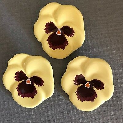 Pansy Garden - Lot of Vintage Avon Signed Glazed Porcelain Pansy Pins/ Brooches