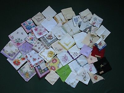 Lot 46 Vintage Hankies Handkerchiefs Floral Embroidered Souvenir Crocheted Edge+
