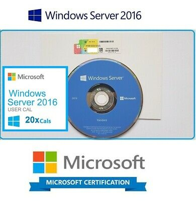 Microsoft Windows Server 2016 Standard 2x CPU 16 CORES 64BIT DVD & COA + 10 CALS