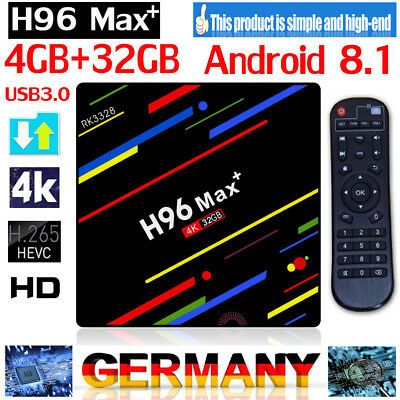 H96 MAX PLUS Android 8.1 Smart TV Box Quad Core 4GB+32GB USB 3.0 4K Set Top Bo