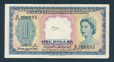 Malaya and British Borneo, 1 Dollar 1953, P-1, VF