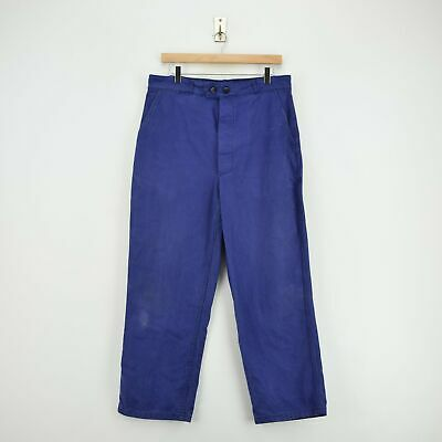 Vintage Workwear Blue French Work Utility Trousers Made in France 32 W 27 L