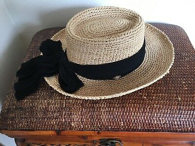 e3b5d9b264b Women s Scala Straw Hat Heavy Raffia Tight Braid Natural with Black Band Bow