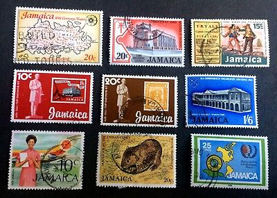 Jamaica - 9 old used stamps / 02