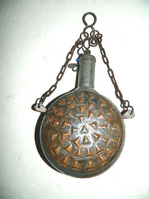 Vintage Antique Ornate Design Metal Patina Bronze Flask Canteen with Cap Chain