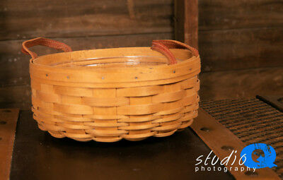 2003 Longaberger Darning Basket with Leather Handles and Protector