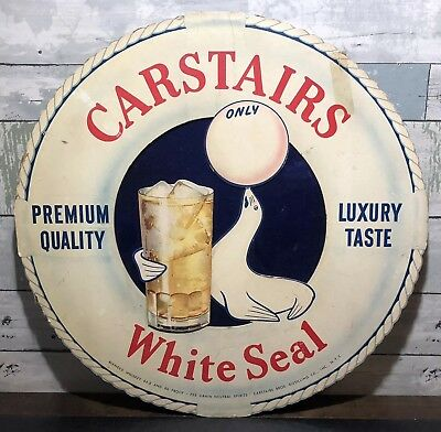 Scarce Vintage Carstairs White Seal Whiskey Card Board Store Advertising Sign