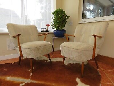 Pair Vintage German Cocktail Chairs With Armchairs Perfect 2 Re-Cover Sept18-7