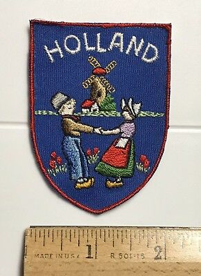 HOLLAND Netherlands Windmill Dancing Man Woman Souvenir Blue Patch Badge