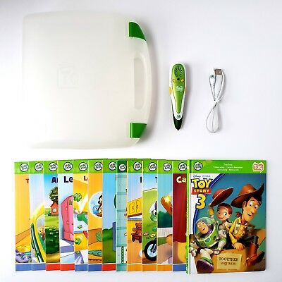 Leap Frog Tag Reader Lot Education Learning System Pen w/ 13 Books Green TESTED