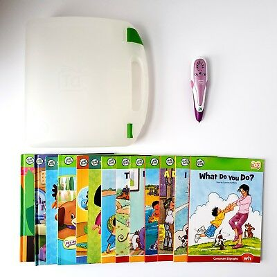 Leap Frog Tag Reader Lot Education Learning System Pen w/ 13 Books Purple TESTED