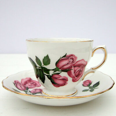 Vintage Royal Vale Bone China Tea Cup Saucer Duo Pink Red Roses Floral
