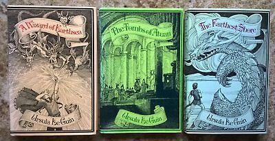 Wizard of Earthsea set Ursula Le Guin 1st first editions 2-5-1 printings Gollanc