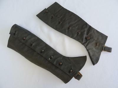 Antique Edwardian Ladies Black Waxed Fabric Buttoned Boot Spats Gaiters - c1910