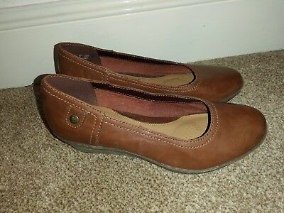 121918b378b8 Ladies Clarks Softwear Brown Leather Slip On Wedge Heel Shoes Uk5 Wide Fit  New