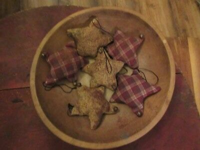 Primitive Stuffed Star Christmas Ornaments, (6)