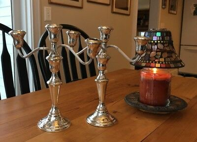 Antique Pair Of Reed & Barton Sterling Silver Triple Candelabras, #11 600G Ea