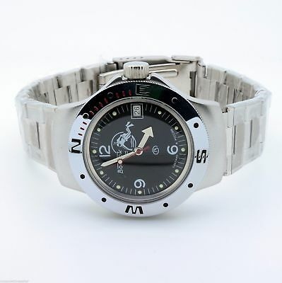 Vostok Amphibian Watch 060634 Military Automatic Russian Scuba Dude Diver New