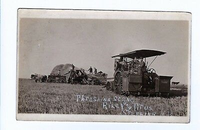 1908 Real Photo Postcard Sterling North Dakota Farmers Tractor & Threshing Scene