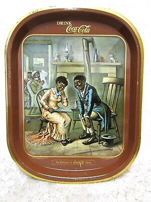 Vintage Coca Cola Series Tin Tray Black Americana The Romance Of The Courtship