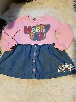 girls 4-5 years long sleeved tunic denim dress happy rainbow clothes next day