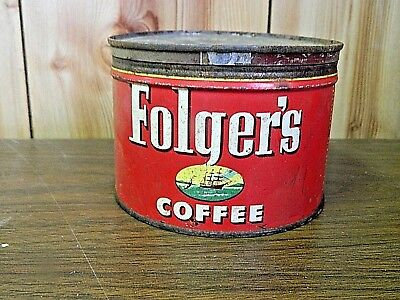 Vintage 1952 Folger's Coffee Tin Can