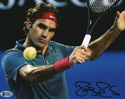 Roger Federer REAL hand SIGNED Photo #1 BAS COA Tennis Wimbledon Australian Open