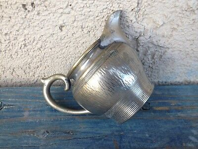 Nice Small Stout & Chubby Silver-Plated Hammered Bronze Vintage Creamer