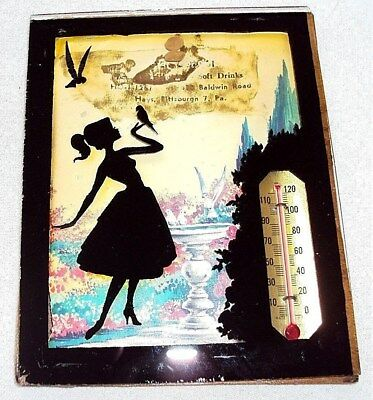 Reverse Painting Restaurant-Soft Drink Ad--Blemish on top-Thermometer-Pittsburgh