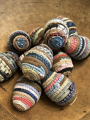 Primitive  Easter Hand Wrapped Rag Rug EGGS! EASTER Farmhouse ( Dark Hues)
