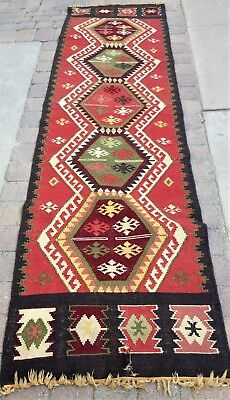 Genuine Wool Kilim Rug Long Vintage Ottoman Middle East Oriental Woven Runner