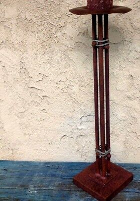 "Tall 24"" Floor Pillar Candle Holder Arts &Crafts Standing Wrought-Iron Metal Rod"