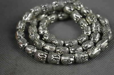 Collectable Miao Silver Carve Tibet Buddha Head Bead Chinese Ancient Necklace