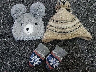 Baby Boys 6-12 Months Hat And Mittens Set X2 Hats Warm Wolly Winter