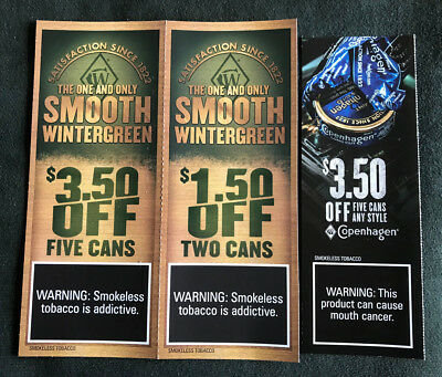 $7 IN COPENHAGEN Smokeless Tobacco Coupons Save $$$ On Snuff
