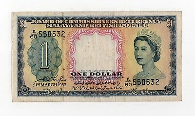 1953 Malaya and British Borneo $ 1 Dollar Banknote , board of Commissioners Curr