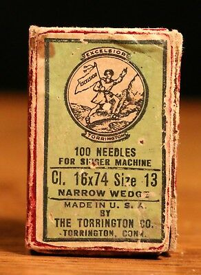 Antique Box of Excelsior Torrington #13 Sewing Machine Needles