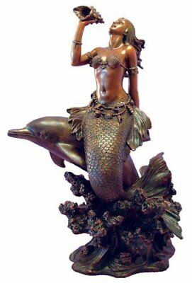 10 Inch Mermaid on Dolphin Blowing Conch Figurine Nautical Ocean Decor Statue