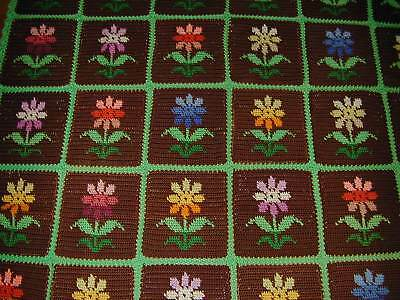 Vtg Never Used Hand Made Crocheted Wool Aghan- Multi-Colored Flowers