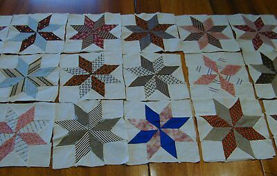 """18 Antique 6""""x6"""" 19th Century Hand Sewn 8 pointed Star Quilt Blocks Squares"""