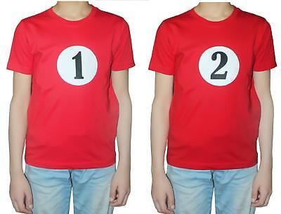 World Book Day Childrens Thing 1 and 2 fancy dress Red T shirt Tops WBD