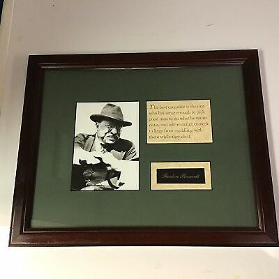 """Theodore Teddy Roosevelt """"The Best Executive"""" Quote Framed Photo Great Boss Gift"""