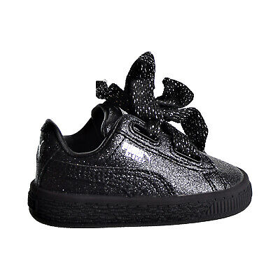 PUMA BASKET HEART Holiday Glamour Toddler's Shoes BlackSilver 367632 02