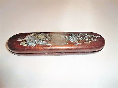Pen/pencil Scribes Case Wood With Mother Of Pearl Dragon Inlay