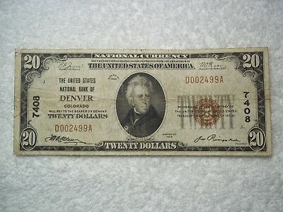 1929 $20 Denver Colorado CO National Currency T1 #7408 United States National