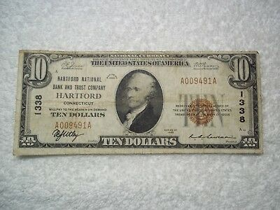 1929 $10 Hartford Connecticut CT National Currency T1 #1338 Hartford National B&