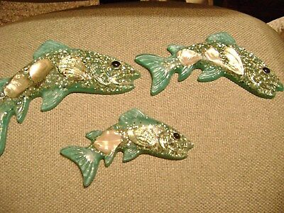 3 Lucite Acrylic Abalone  Bathroom Fish Wall Plaques