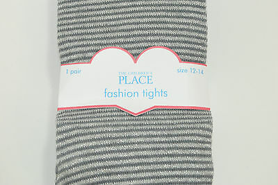 TCP The Childrens Place Girls Size 12-14 Grey Silver Sparkle Knit Tights New